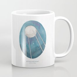 Haruki Murakami's Sputnik Sweetheart // Illustration of the Sputnik Satellite in Space in Pencil  Coffee Mug