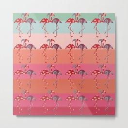 Ombre Pink Flamingos  Metal Print