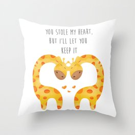 Giraffe Couple With Heart - You stole my hear but I will let you keep it - Happy Valentines Day Throw Pillow