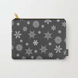 Snow Flurries-Solid Charcoal Carry-All Pouch