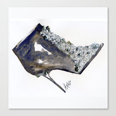 Black Boot Accessory Fashion Watercolor Canvas Print