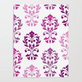 Heart Damask Art I Pinks Plums White Poster