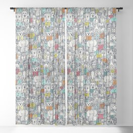 animal ABC indigo multi Sheer Curtain