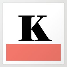 Monogram Letter K-Pantone-Peach Echo Art Print