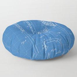 Lacrosse Stick Patent - Lacrosse Player Art - Blueprint Floor Pillow
