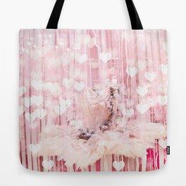 Paris Pink Ballerina Tutu With Hearts Tote Bag
