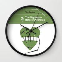 nightmare before christmas Wall Clocks featuring The Nightmare Before Christmas by Bubblegum Prints