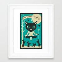 tarot Framed Art Prints featuring TAROT CARD CAT: THE MAGICIAN by Jazzberry Blue