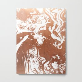 Marble suminagashi copper metallic japanese spilled ink watercolor ocean swirl marbling Metal Print