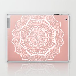 White Flower Mandala on Rose Gold Laptop & iPad Skin