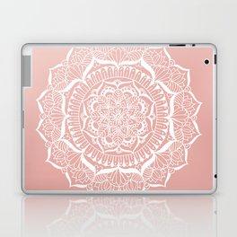 White Flower Mandala on Rose Gold Laptop & iPad Skin