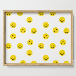 Smiley faces white yellow happy simple smiley pattern smile face kids nursery boys girls decor Serving Tray