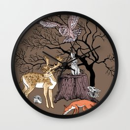 Forest animals graphics color Wall Clock