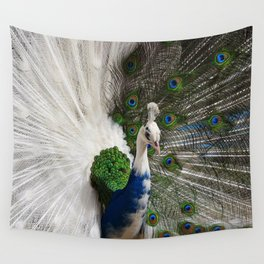 Blue White Peacock Wall Tapestry