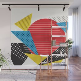 Memphis Sun Abstract Throwback Retro 1980s 80s Trendy Hipster Pattern Eighties Wall Mural