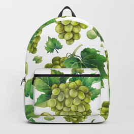 Watercolor bunches of white grapes and green leaves  Backpack