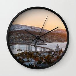 Sunset at Tromsø, Norway    Travel photography mountain architecture lapland winter scandinavia  Wall Clock
