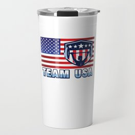 Team USA Powerlifting American Flag Weightlifting Strength Sport Gift Design Travel Mug