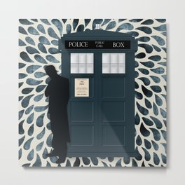 Dr Who and his Timey-Wimey Vehicle Metal Print