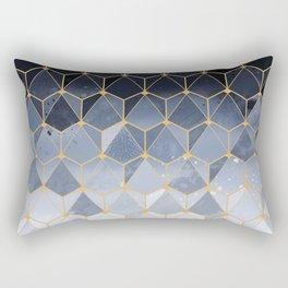 Blue gold hexagonal pattern Rectangular Pillow