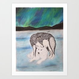 "Northern Lights & ""I Wolves You"" Nights Art Print"