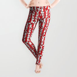 Nautical Beach Lifebelts on Red and White Stripes Leggings