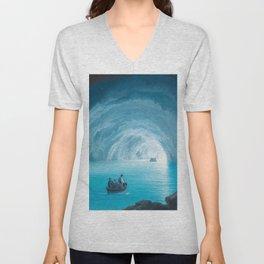 The Blue Grotto, Capri, Italy by landscape painting Gioacchino La Pira Unisex V-Neck