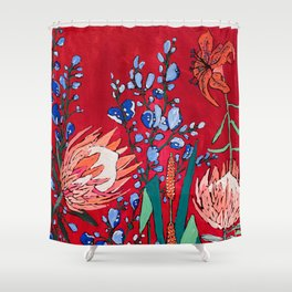Red and Blue Floral with Peach Proteas Shower Curtain
