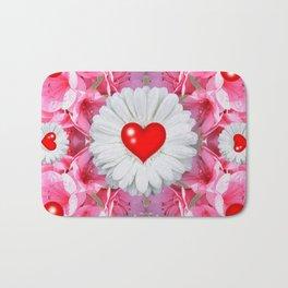 Red Hearts & White Floral Art Bath Mat
