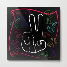 The gesture of the hand with outstretched with two fingers. Symbol gesture victory in different desi Metal Print