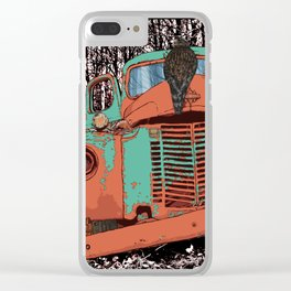 Old speed wagon with a wolf skull and a hawk. Clear iPhone Case