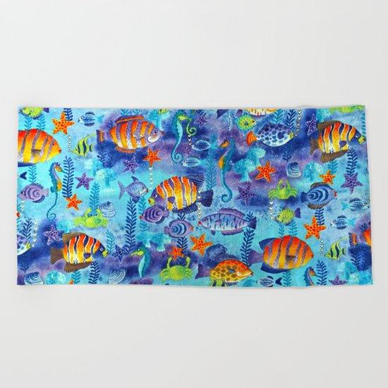Underwater cartoon cute pattern Beach Towel