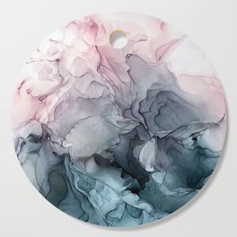 Blush and Paynes Gray Flowing Abstract Reflect Cutting Board