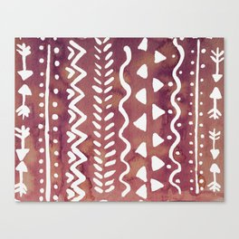 Loose boho chic pattern - purple brown Canvas Print