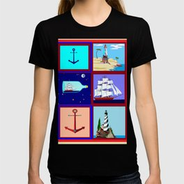 A Nautical Quilt with Ships, Lighthouses and Anchors T-shirt
