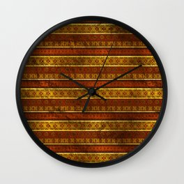 African Ethnic Tribal Pattern in golds and brown Wall Clock