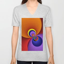 time for fractals -5- curtain Unisex V-Neck