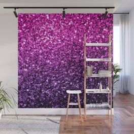 Purple Pink Ombre glitter sparkles Wall Mural