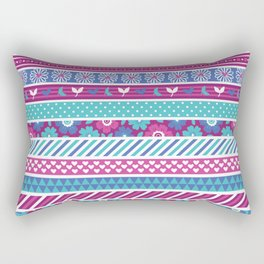 Abstract pink teal white geometrical floral patterns Rectangular Pillow