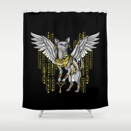 Bastet Egyptian Cat Goddess Hieroglyphs Ankh Shower Curtain