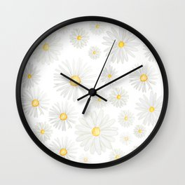 white daisy pattern watercolor Wall Clock
