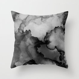 Undertow- Gray Black Abstract Painting Throw Pillow