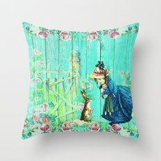 Spring Easter Bunny Vintage Roses Rose Garden Design Blue Green Pink Throw Pillow