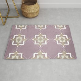 Musk Mauve and Taupe Mosaic Pattern Rug
