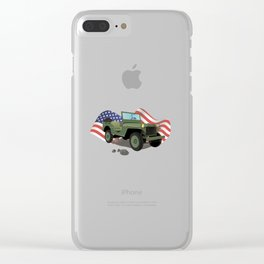 WWII US Army Truck with American Flag Clear iPhone Case