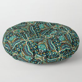 Bohemian Folkart Floral - Indigo, Turquoise & Burnt Red Flower Pattern with Folky Feel Floor Pillow