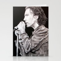 eddie vedder Stationery Cards featuring Eddie Vedder - Pearl Jam by whiterabbitart