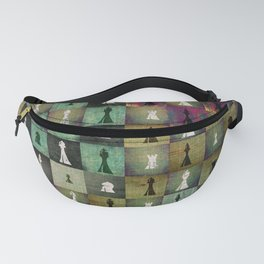 Paint and Print  Chessboard and Chess Pieces pattern Fanny Pack