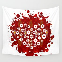 Red Heart Of Flowers Fantasy Designs Abstract Holiday Art  Wall Tapestry