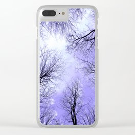 Black Trees Lavender Sky Clear iPhone Case